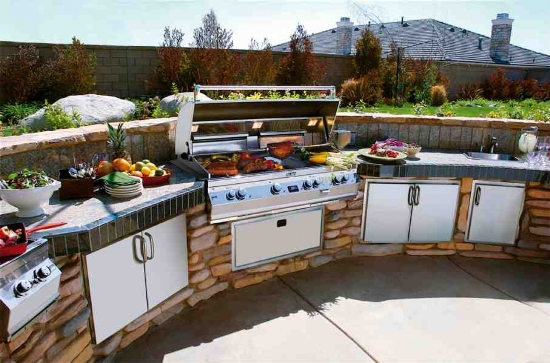 Steel Stove And Cabinets For Brownstone Outdoor Kitchen