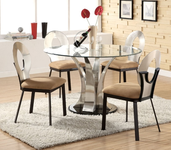 Lovely  Stylish Glass and Steel Round Dining Table