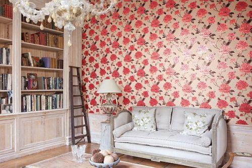Tasteful red floral wallpaper design