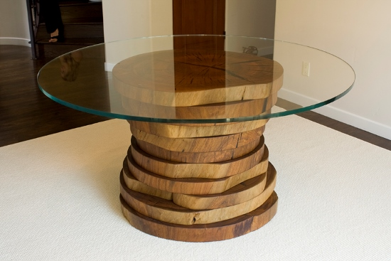 Unique Blue Gum Eucalyptus Wooden Discs And Glass Dining Table. Round Dining  Table Designs