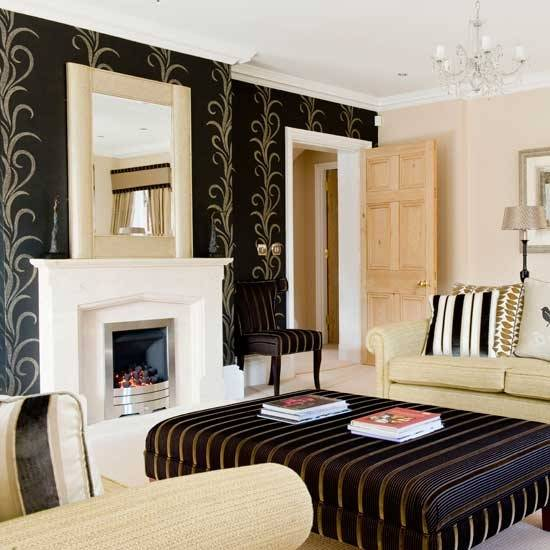 21 black wall living room ideas ultimate home ideas for Gold and black living room ideas