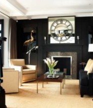 Classy Black Living Room Wall With Fireplace