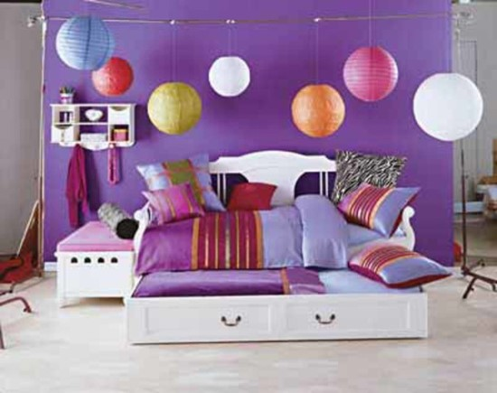 Cute And Colorful Purple Bedroom Design For Teenage Girl Ideas