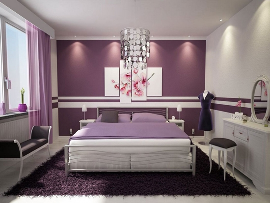 Elegant Bedroom Design With Purple Accent Wall And Upholstery Teenage Girls Bedrooms
