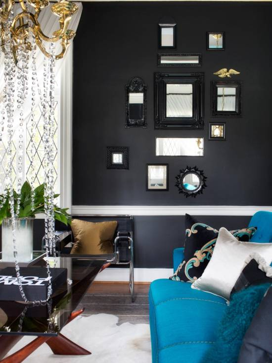 Black Walls Living Room