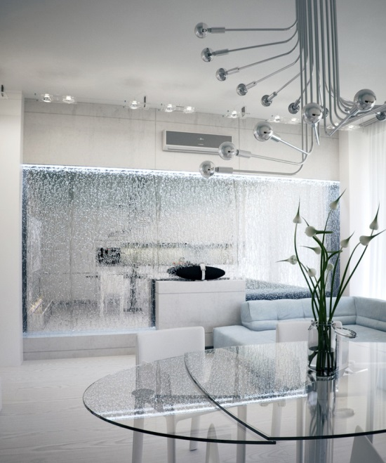 Awesome Modern Living Room With Mirrored Waterfall Feature. Indoor Water Features Part 28