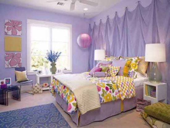 Purple And Bright Teenage Girlu0027s Bedroom. Purple Bedroom Ideas