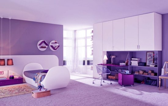 50 purple bedroom ideas for teenage girls ultimate home for Purple and white bedroom designs