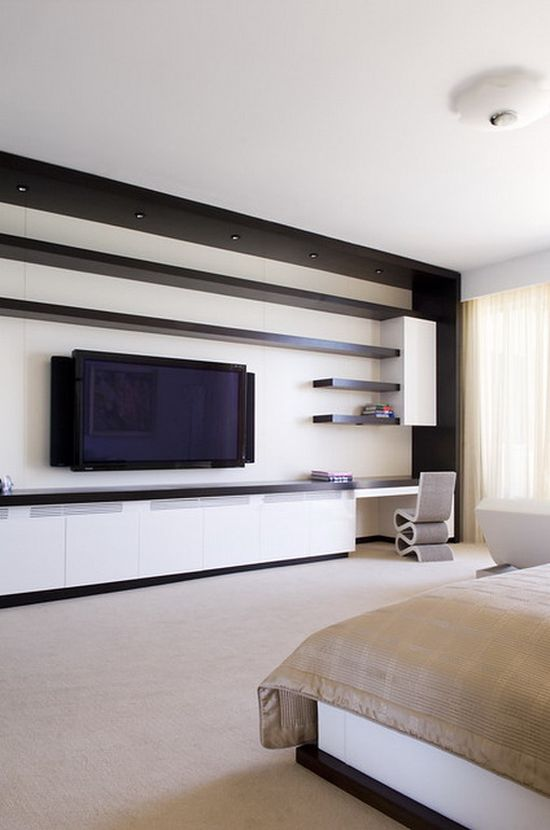 55 cool entertainment wall units for bedroom for Bedroom designs with tv unit