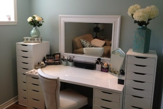 vanity desk  makeup table ideas Vanity Desk The Xandra Black Mirrored Makeup With No