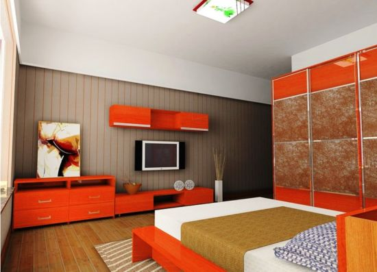 Elegant Orange Bedroom TV Wall Unit. Entertainment Units