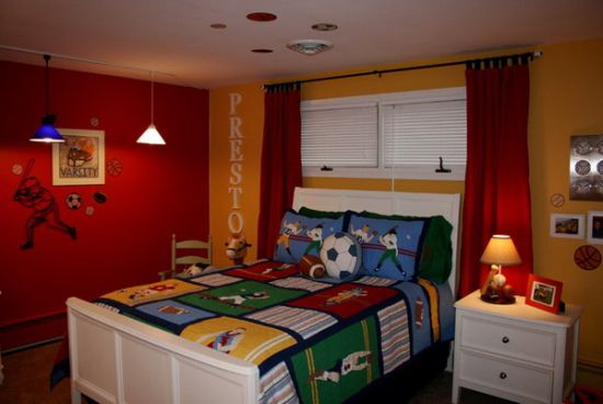 Colorful Baseball Themed Boys Bedroom Decor Bedrooms