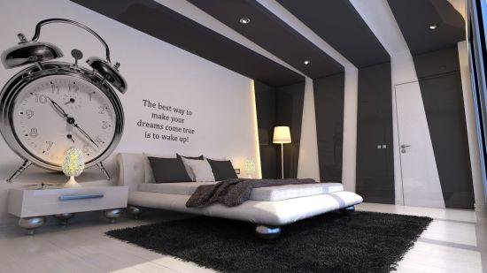 White platform bed design with metallic legs
