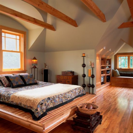 Cool wooden platform bed design