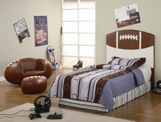 sport bedroom decor ideas for boys with football chair and ottoman