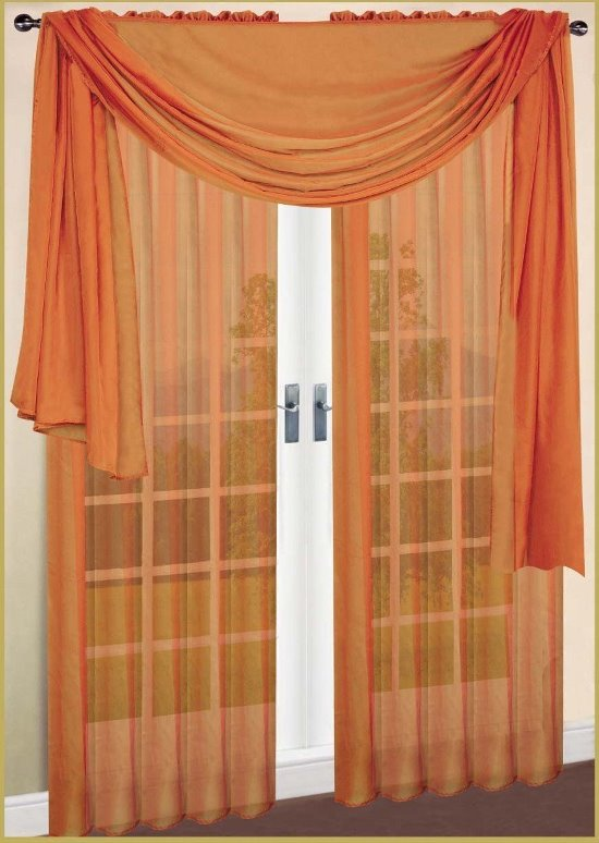 Curtains ideas cream and orange curtains inspiring for Sheer panel curtain ideas