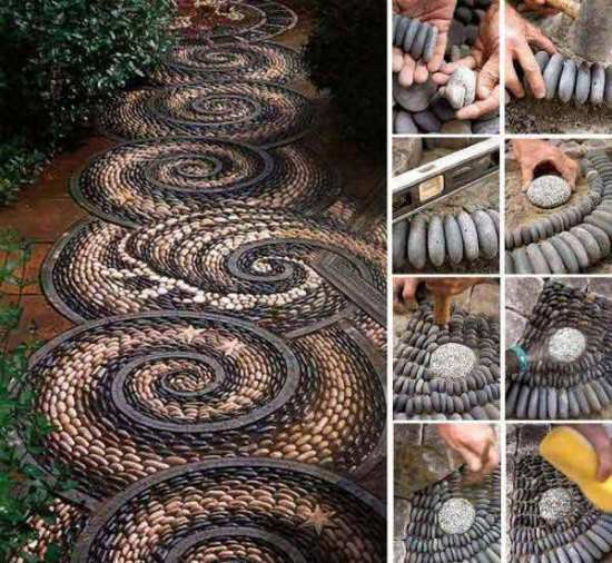 beautiful spiral rock mosaic pathway diy garden decor ideas