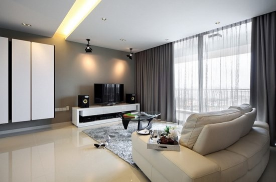 Superbe Contemporary Living Room With Thick And Sheer Grey Curtains. Sheer Window Curtain  Ideas