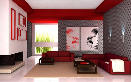 red living room design decoration