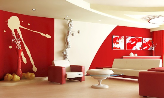 Lovely Red Living Room Designs
