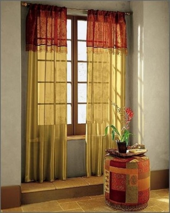 Sheer curtain ideas for living room ultimate home ideas for Red and gold drapes