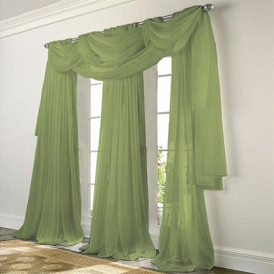 Hunter Green Sheer Curtains For Living Room. Sheer Curtain Ideas