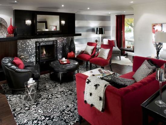 Captivating Red Living Room Designs
