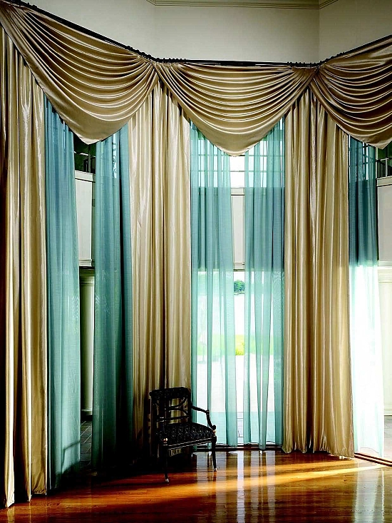 Modern Gold And Sheer Blue Drapes For Living Room. Sheer Curtain Ideas Part 43
