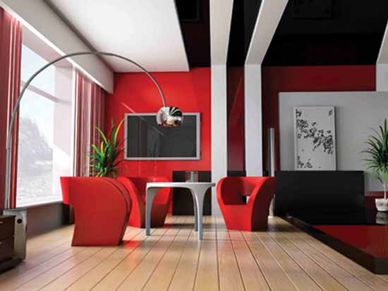 Great Red Living Room Designs Part 13