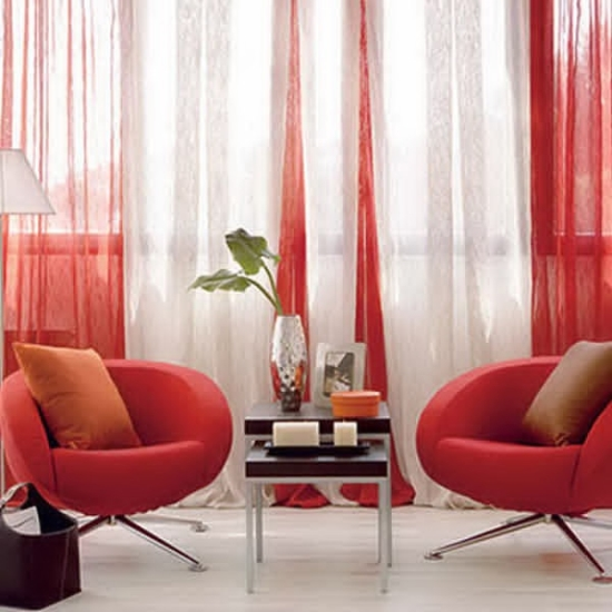 Red White Full Length Sheers For Living Room. Sheer Curtain Ideas