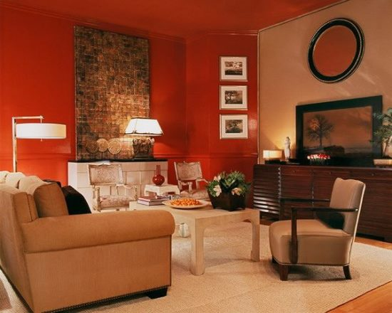 Orange and red living room decor Orange and red living room design