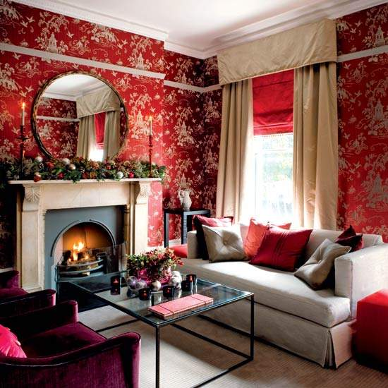 Beau Red Living Room Designs