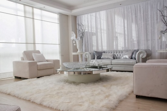 White Living Room Decor With Sheer White Blinds. Sheer Curtain Ideas Part 40