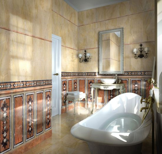 Luxury Classic Master Bathroom With Printed Tiled Walls And Elegant
