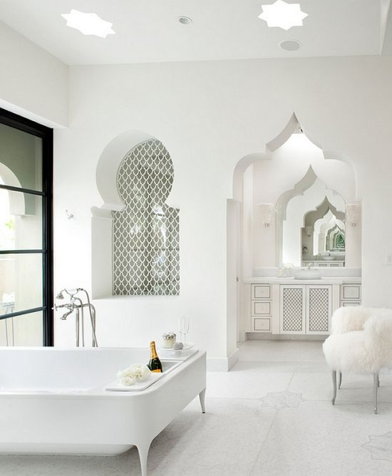 Luxury Moroccan Themed White Master Bathroom Bath Ideas