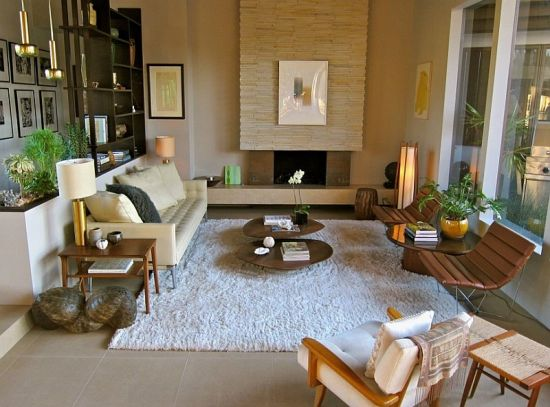 Modern White And Brown Sunken Living Room Design. Sunken Living Rooms Part 61