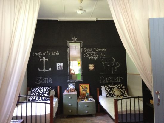 Boys Bedroom With Chalkboard Painted