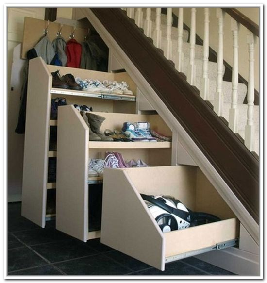 Custom Closet Ideas Designs: Innovative Closet Rod Under Stairs