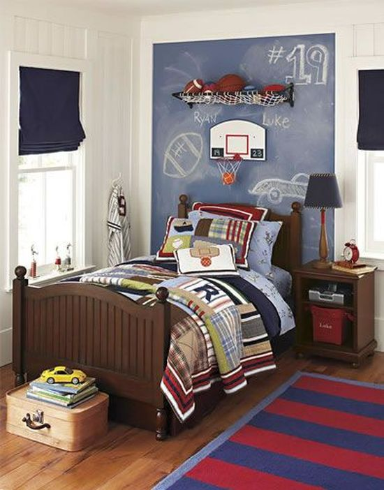 Sporty chalkboard wall for boy's bedroom. Chalkboard Paint Ideas