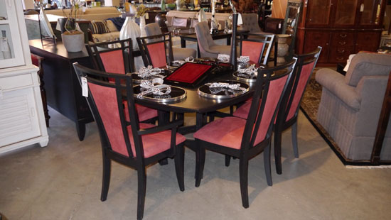 Attractive Red Suede Upholstered Dining Room Chairs