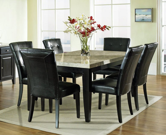 black leather upholstered dining room chairs