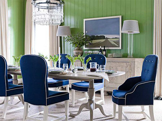 Blue And White Upholstered Dining Room Chairs