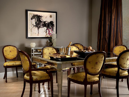 Classy Velvet Upholstered Dining Room Chairs
