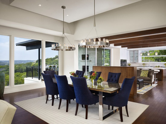 Contemporary Blue Upholstered Dining Room Chairs