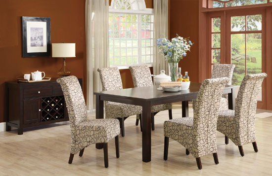 Elegant Printed Upholstered Dining Room Chairs