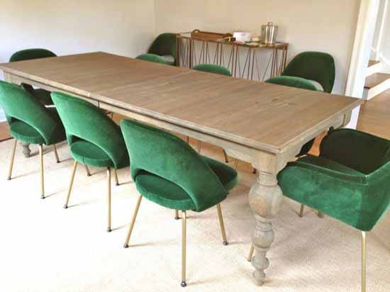 Green Velvet Upholstered Dining Room Chairs
