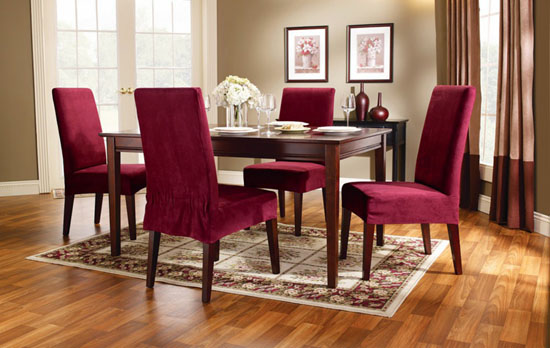 Maroon Suede Upholstered Dining Room Chairs
