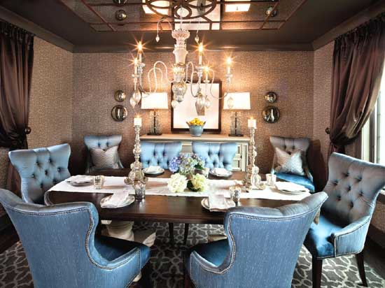 Opulent Blue Upholstered Dining Room Chairs