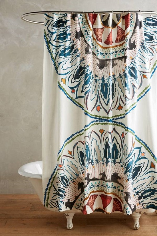 Artistic Bathroom Shower Curtain with Symmetrical Design