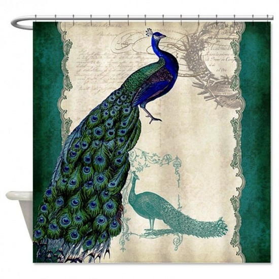 Artistic Beautiful Peacock Bathroom Shower Curtain